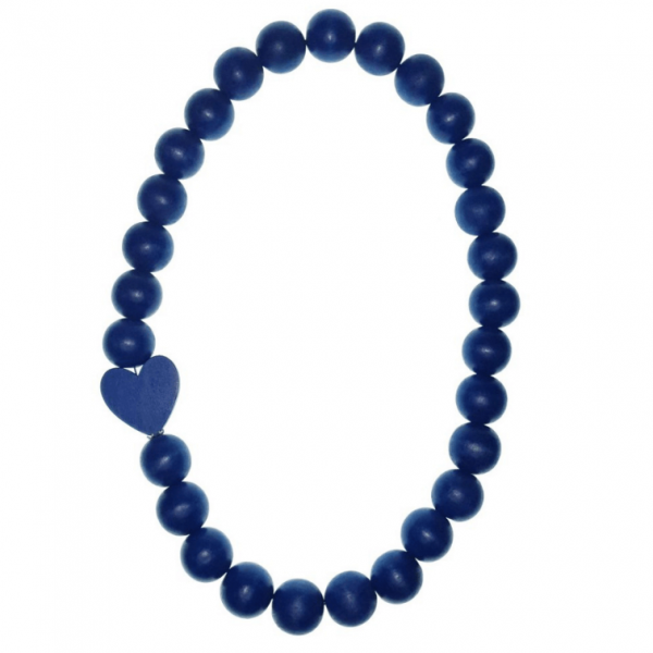 Navy Wooden beads necklace with a Navy wooden heart