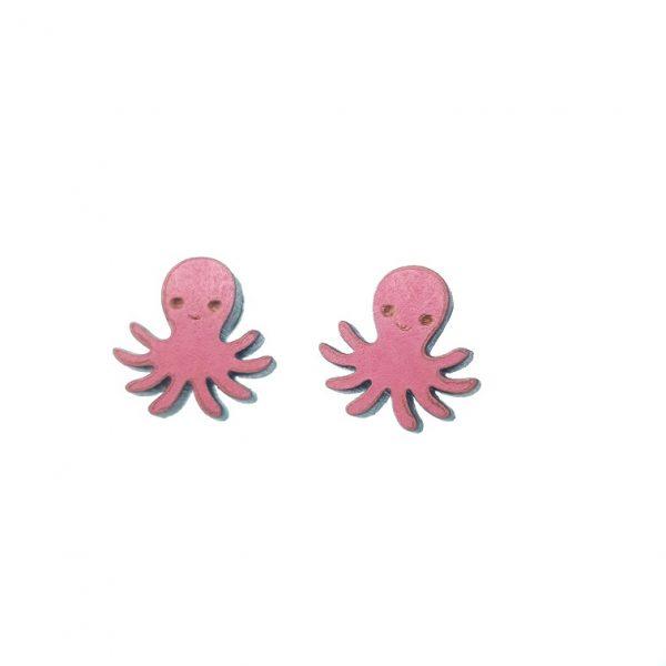 Octopus laser cut wooden earrings
