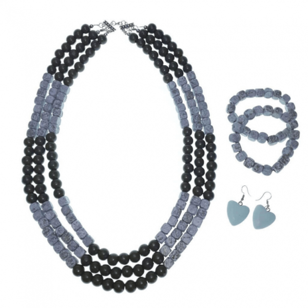 Olive Green, Grey and White layered wooden beads necklace, bracelets and earring jewellery set