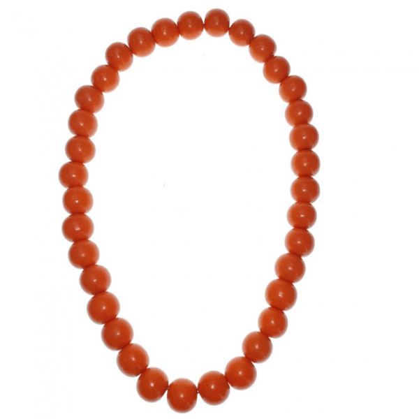 Orange 20mm wooden beads string necklace
