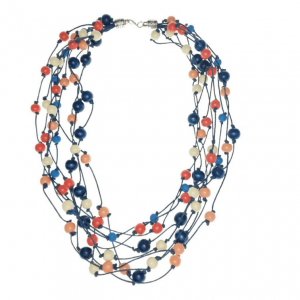 Orange Peach Cream and Blue layered Wooden beads necklace