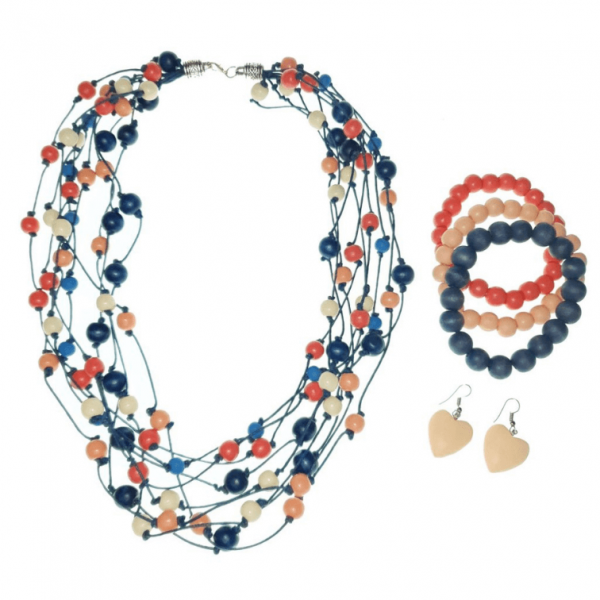 Orange, Peach, and Blue layered Wooden beads necklace, bracelets, and hearts earring jewellery set