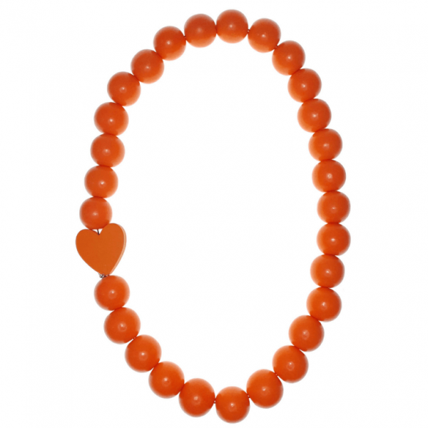 Orange Wooden beads necklace with a Orange wooden heart