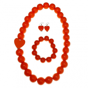 Orange Wooden beads necklace with a heart, elastic wooden beads bracelet, and wooden heart earring jewellery set