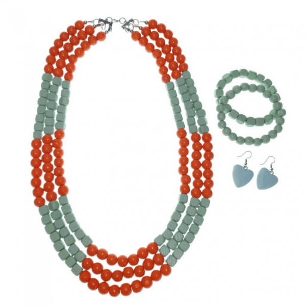 Orange and Mint layered wooden beads necklace, bracelets and earring jewellery set