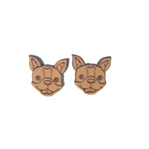 Orange dog laser cut engraved wooden earrings