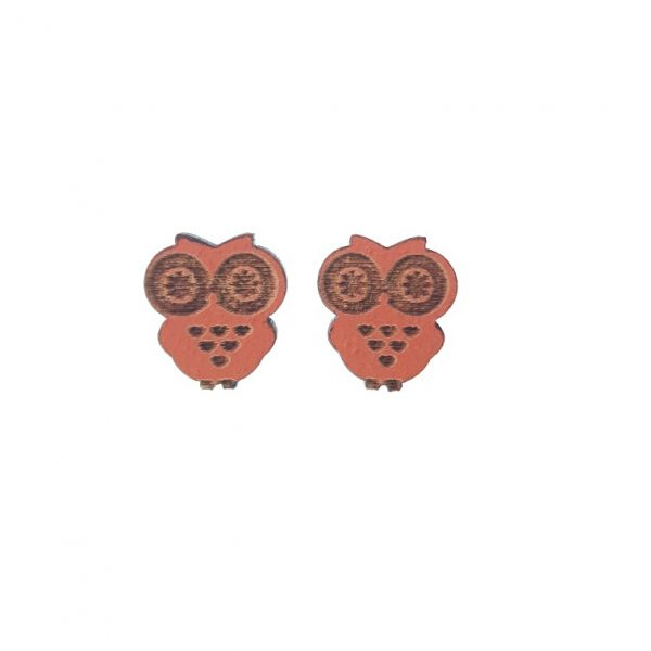 Orange engraved small owl laser cut wooden earrings with star eyes