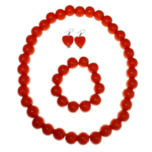 Orange, Peach and Cream long wooden beads necklace and elastic wooden beads bracelet jewellery set