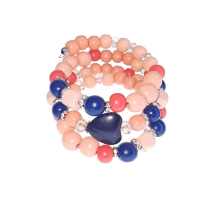 Peach, Orange And Blue Memory Wire Bracelet