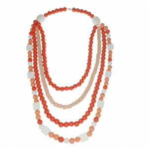 Peach Orange and White four layer long necklace scaled