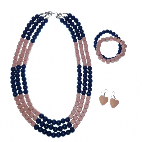 Peach and Mint layered wooden beads necklace, bracelets, and earring jewellery set