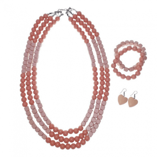 Peach layered wooden beads necklace, bracelets, and earring jewellery set