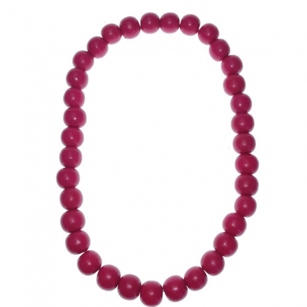 Pink 20mm wooden beads string necklace
