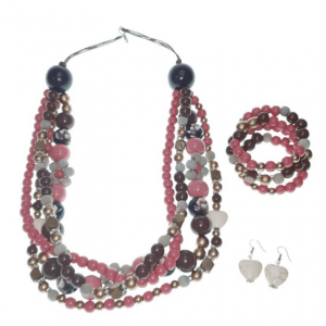 Pink and Brown Wooden four-layer beads necklace with Chinese crystals with wooden Hearts, elastic wooden beads bracelet