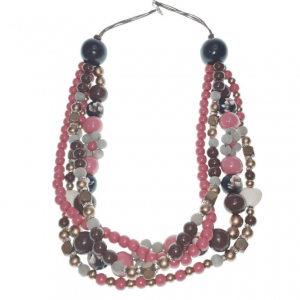 Pink, brown and gold layered wooden beads necklace with spacers and stone hearts