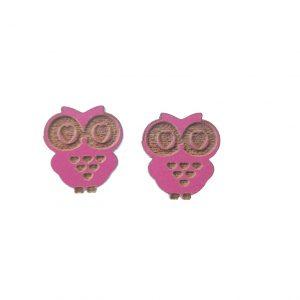 Pink engraved wooden owl earrings
