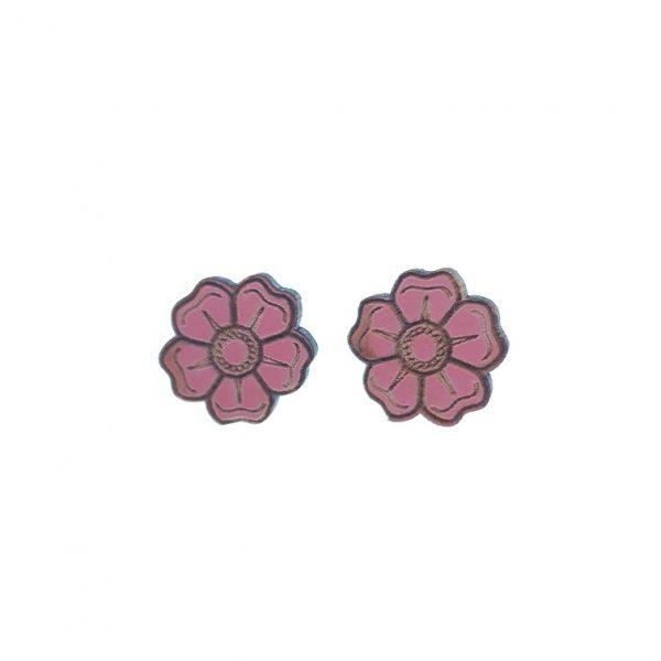 Pink flower laser cut engraved wooden earrings