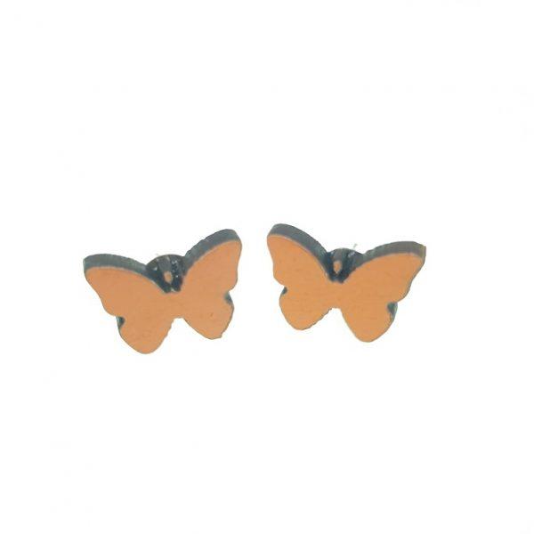 Plain butterfly laser cut engraved wooden earrings