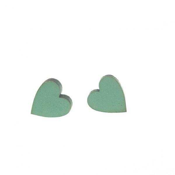 Plain green heart laser cut wooden earrings