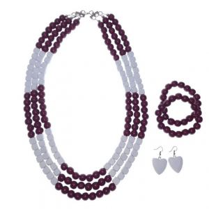 Purple and White layered wooden beads necklace, bracelets, and earring jewellery set