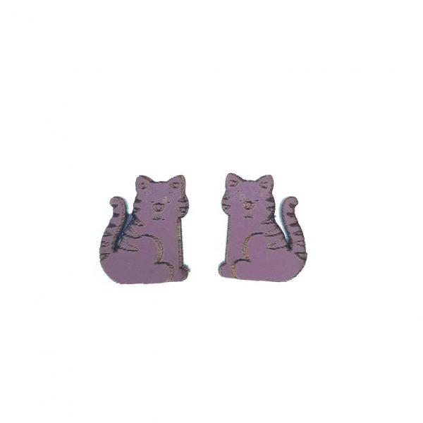 Purple cat laser cut engraved wooden earrings