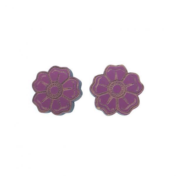 Purple flower laser cut engraved wooden earrings