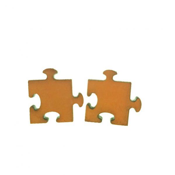 Puzzle piece laser cut wooden earrings
