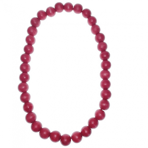 Red 20mm wooden beads string necklace