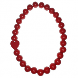 Red Wooden beads necklace with a Red wooden heart