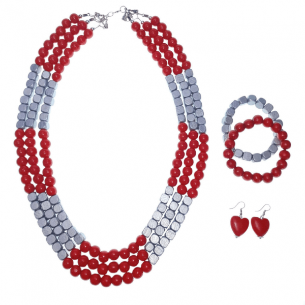 Red and silver layered wooden beads necklace, bracelets and earring set