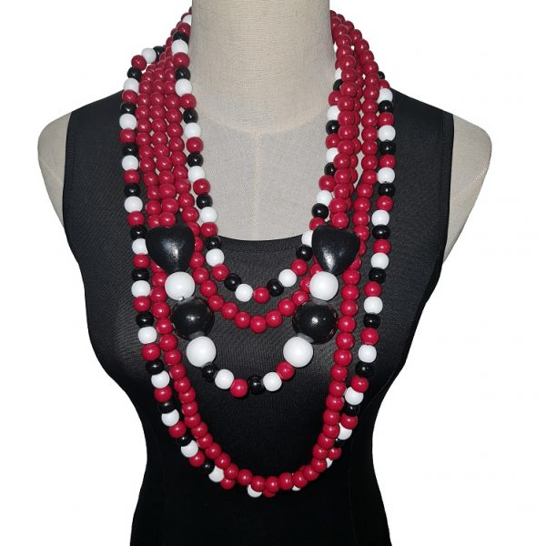 Wooden beads necklace jewellery set