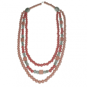 Rose Pink and Grey three layer wooden beads long necklace