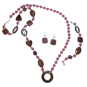 Rose Pink and brown beaded wooden beads necklace, bracelet, and earring jewellery set