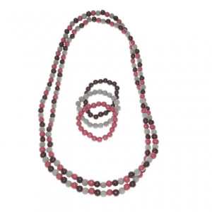 Rose Pink and brown long wooden beads necklace and elastic wooden beads bracelets jewellery set