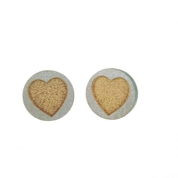Round engraved hearts laser cut wooden earrings