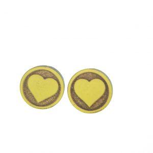 Round shaped heart laser cut wooden earrings