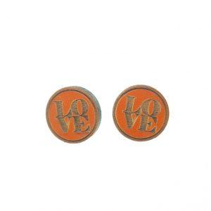 Round wooden earrings with LOVE laser cut earrings