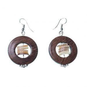 Round wooden earrings with seashell discs