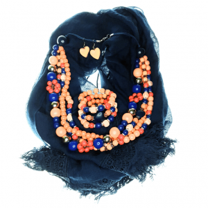 Scarf, Layered peach and blue wooden beads necklace, memory wire bracelet and wooden heart earring jewellery set