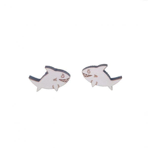 Shark laser cut wooden earrings