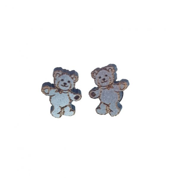 Silver engraved wooden teddy bear laser cut wooden earrings