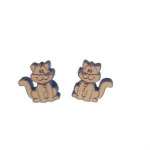 Sitting cat laser cut engraved wooden earrings