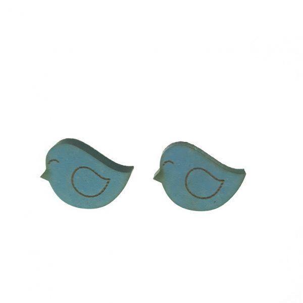 Sleeping bird engraved wooden earrings