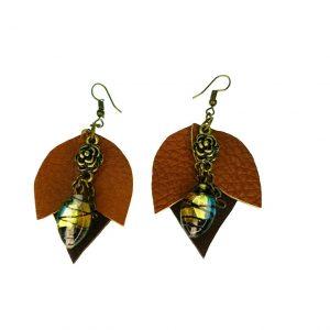 Flower shaped Leather earrings
