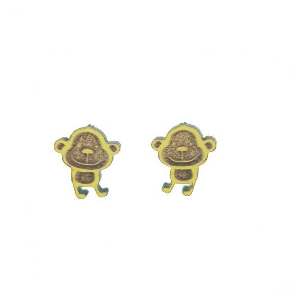 Small monkey laser cut wooden earrings