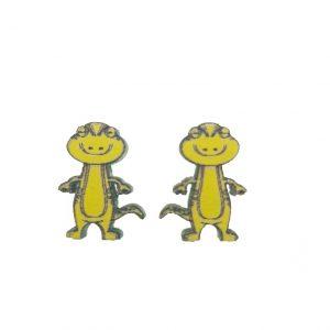 Standing lizard laser cut wooden earrings
