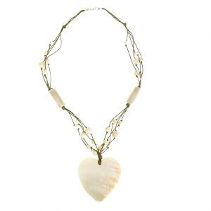 Stone beads necklace with a seashell heart pendant