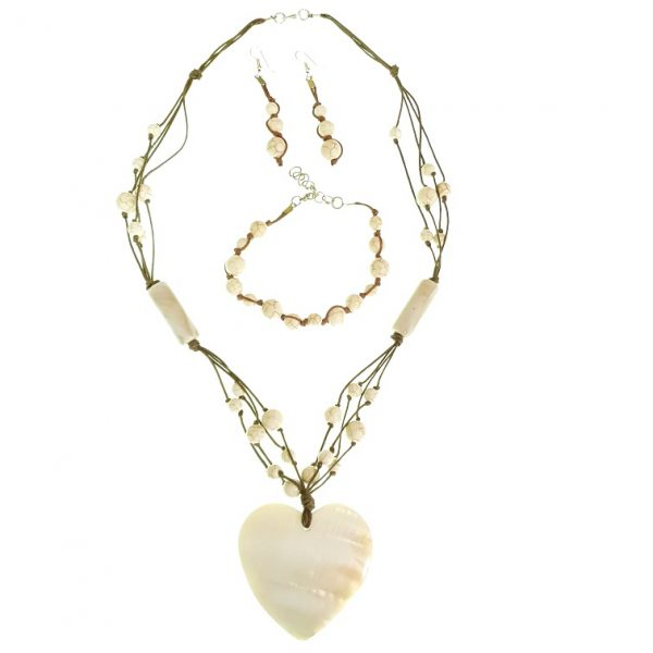 Stone and seashell necklace, bracelet and earring jewellery set