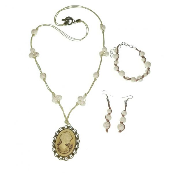 Stone beads necklace, bracelet and earring jewellery set