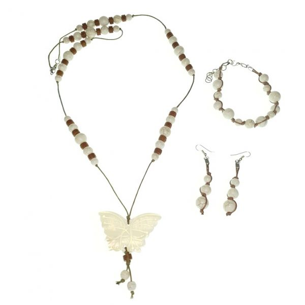 Stone necklace with a seashell butterfly pendant, bracelet and earring jewellery set.